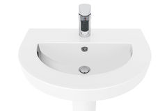 Washbasin with Chrome faucet. On a white background Royalty Free Stock Photos