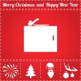 Washbasin Icon Vector. And bonus symbol for New Year - Santa Claus, Christmas Tree, Firework, Balls on deer antlers Stock Photography