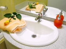 Washbasin and liquid soap Royalty Free Stock Photography