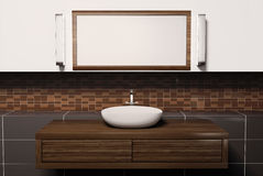 Washbasin and mirror 3d. Washbasin mirror and lamps 3d render Stock Photography