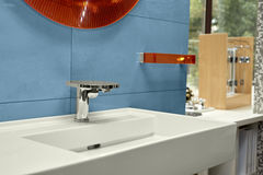 Washbasin with mixer tap in a bathroom Royalty Free Stock Image