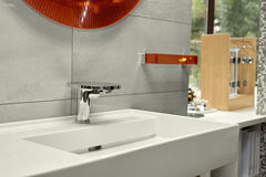 Washbasin with mixer tap in a bathroom Royalty Free Stock Photography