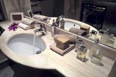 Washbasin in modern bathroom Stock Photography