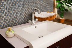 Washbasin in a modern bathroom Stock Photos