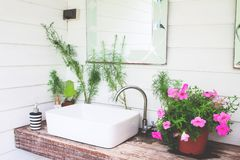 Washbasin With Pink Flowers In Home Garden, White And Beautiful Stock Image