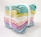 Washcloth. Wash clothes of different colors stock photo