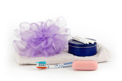 Washcloth, soap, toothbrush and cream Royalty Free Stock Photo