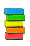 Washcloths. Five multi-colored sponges for washing dishes Royalty Free Stock Photography