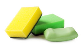 Washcloths and soap Stock Images