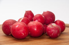 Washed and cleaned radishes on the wooden board Royalty Free Stock Photo