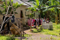 Washed clothes drying outside Stock Image