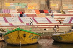 Washed Clothes at the Ganges River in Varanasi, India Stock Photo
