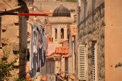 Washed clothes and hanging clothes, Dubrovnik royalty free stock image