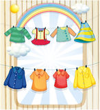 Washed clothes hanging under the heat of the sun Royalty Free Stock Photos