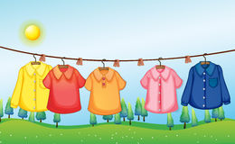 Washed clothes hanging under the sun Royalty Free Stock Images