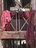 Washed clothes monks. In a place to wash up in the Shwenandaw monastery in Myanmar (Burma Royalty Free Stock Images