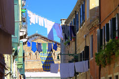 Washed clothes Venice street Italy Royalty Free Stock Image