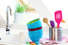 Washed dishes. Near kitchen sink Royalty Free Stock Photo