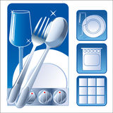 Washed Dishes. Set Iconic Symbol Image. Plate, Fork, Tile, Glass. Vector Picture. Stock Image