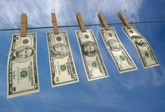 Washed dollars Stock Photos