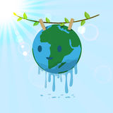 Washed Earth hanging on tree branch Royalty Free Stock Images