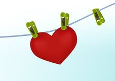 Washed Heart. Heart on the rope illustration vector illustration
