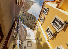 Washed laundry hanging, Lissabon city Stock Images