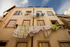 Washed laundry hanging, Lissabon city Royalty Free Stock Images