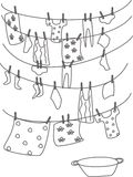 Washed linen. By hand, washbowl, hang clothes and napkins vector illustration