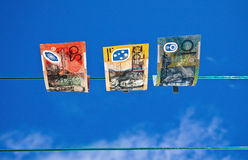 Washed Money 1. Washed money drying on a clothes line Stock Photography