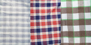 The washed off cotton checkered fabric set Stock Photography