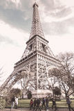 Washed out Eiffel Tower. Photo Of the Eiffel Tower washed out color. with Student or people walking past Royalty Free Stock Photos