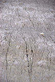 On the washed out mountainside. The plan view and close-up of a rugged washed and dried mountain slope Stock Photo