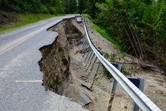 A washed out mountain road stock photography
