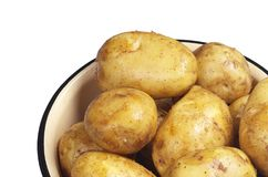 Washed raw potato. In bowl isolated on a white background close up Stock Photography
