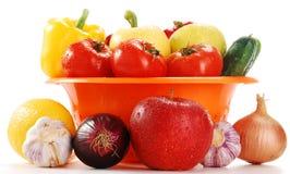 Washed raw vegetables. Isolated on white background Royalty Free Stock Photo