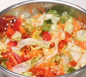 Washed Salad Vegetables in Colander Stock Photo