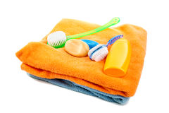 Washed shampoo bath towel and brushes Stock Photo