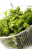 Washed and sliced curly kale stock image