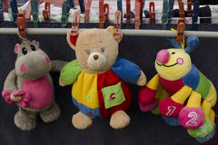 Washed Toys. Colorful toys-teddy bear, hippo, caterpillar Stock Image