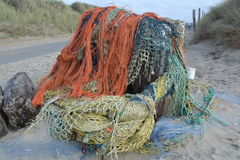 Washed-up fishing nets at Dutch Northsea coast Stock Photography