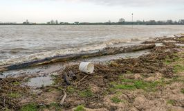 Washed up rubbish on the bank of a river. Washed up rubbish on the bank of a Dutch river. Apart from wood and plant remains, a white plastic bucket has also been Stock Image
