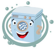 Washer cartoon with soap bubbles Royalty Free Stock Photo
