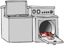 Washer And Dryer. This illustration depicts a washing machine and clothes dryer with their lids open royalty free illustration