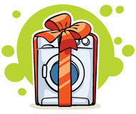 Washer machine with red ribbon and big bow Royalty Free Stock Photo