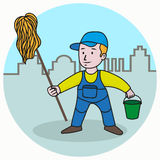 Washer man. In a cartoon style, holding a bucket and mop Stock Illustration