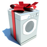 Washer and red tape. gift Royalty Free Stock Photo