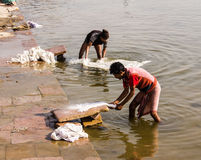 Washer in Varanasi. A washer is working in the holy water of the river Ganges, in Varanasi Stock Image