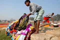 Washermen At Barakar River in India Royalty Free Stock Image