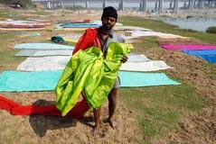 Washermen At Barakar River in India Stock Photo